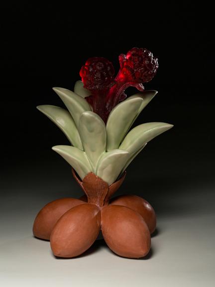 "Untitled, 2014, terracotta, porcelain & glass, 21"" x 12"" x 12"""