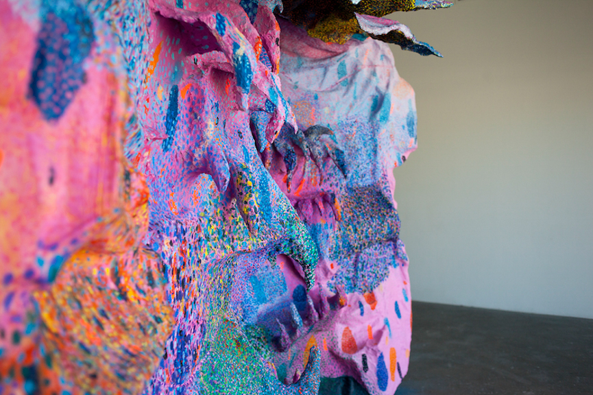 Redondo Sunburns (detail), 2013, oil, acrylic, flashe vinyl paint, enamel paint, spray paint, papier-mache, aluminium foil, foam, thermoformed plexiglas, wire mesh, canvas on wood structure, 12.5' x 3' x 8.5'