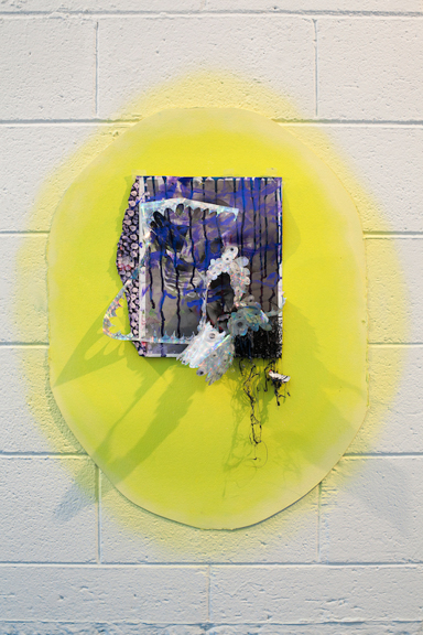 """Silver Sunshine Puddles, 2013, oil, acrylic, spray paint, tape, holographic paper, hot glue, googly eyes on magazine page mounted on watercolor paper, 30"""" x 21"""""""