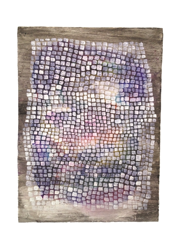 Fabric, 2015 8 7/8 x 6 7/16 x 2 3/4 inches Oil, Watercolor, Acrylic, Glitter On Wood Panel