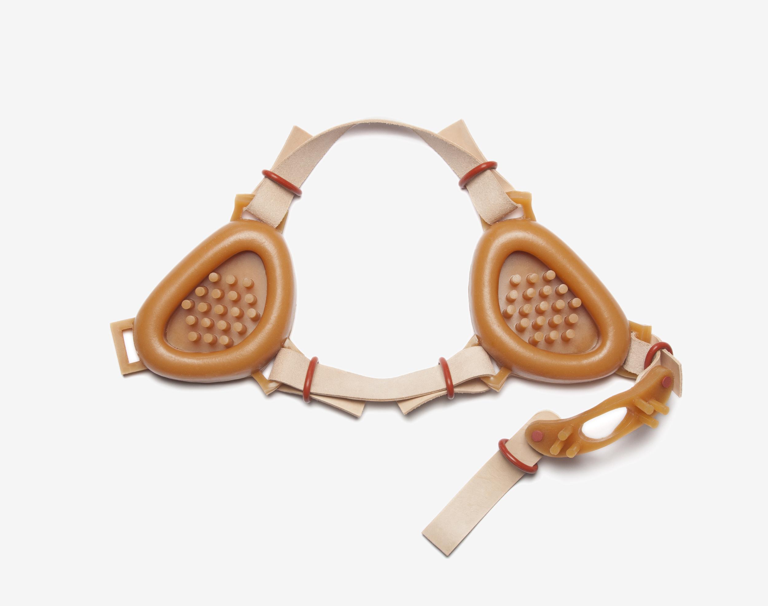 "Knismesis Headgear, 2014, urethane, rigid photopolymer, leather, rubber, 6.5"" x 4.25"" x 1"" (single piece)"