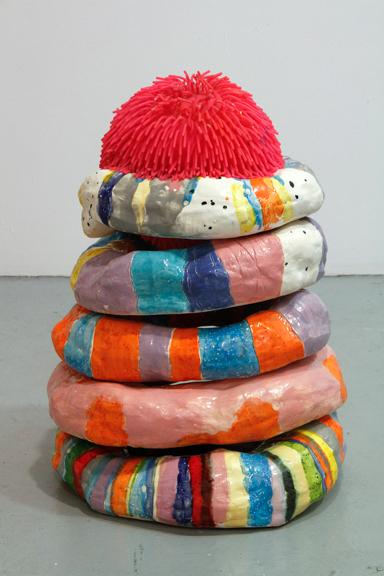"Donut-man, 2015; Ceramics, googly ball,  18"" x 11"" x 14"""