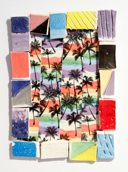 "Summer Life, 2015; Duct tape, ceramic tiles, 14"" x 10"""