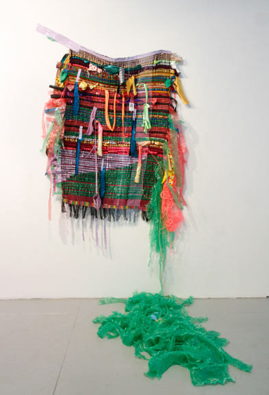 "Weave done it, 2015; Hand-made woven textile using discarded materials (fabric, plastic, duct tape, others), 76"" x 68"" x 42"""
