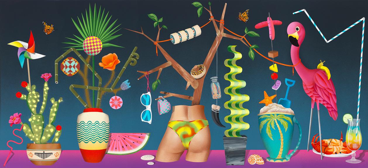 -California Love, 2014, aerosol acrylic, aerosol enamel on panel, 30 x 65 inches