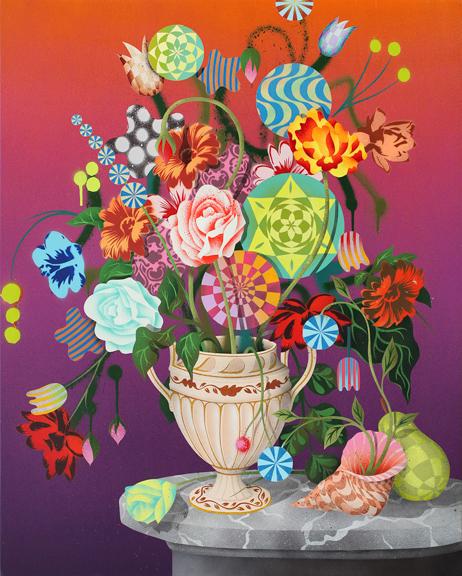 -Summer Bouquet at Dusk, 2014, aerosol acrylic on panel, 30 x 24 inches