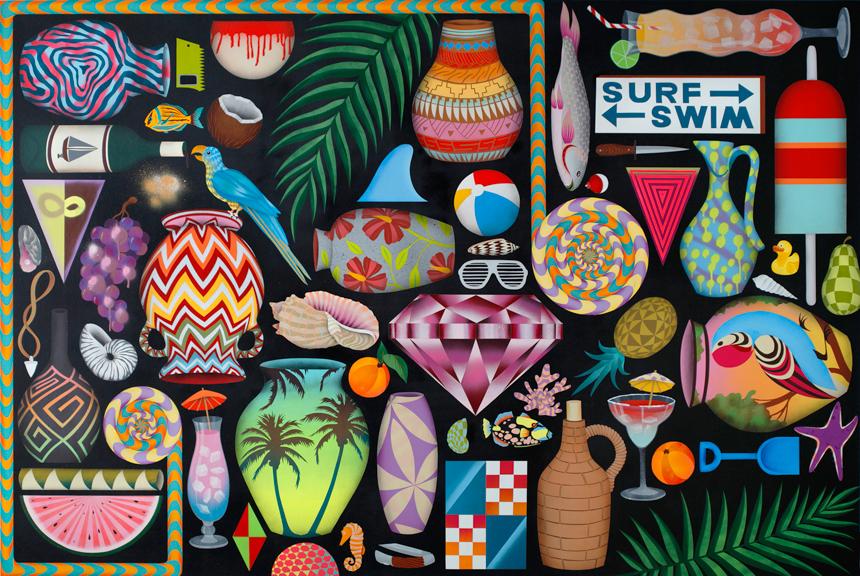 Surfin' Safari, 2013, aerosol acrylic, aerosol enamel on panel, 48 x 72 inches