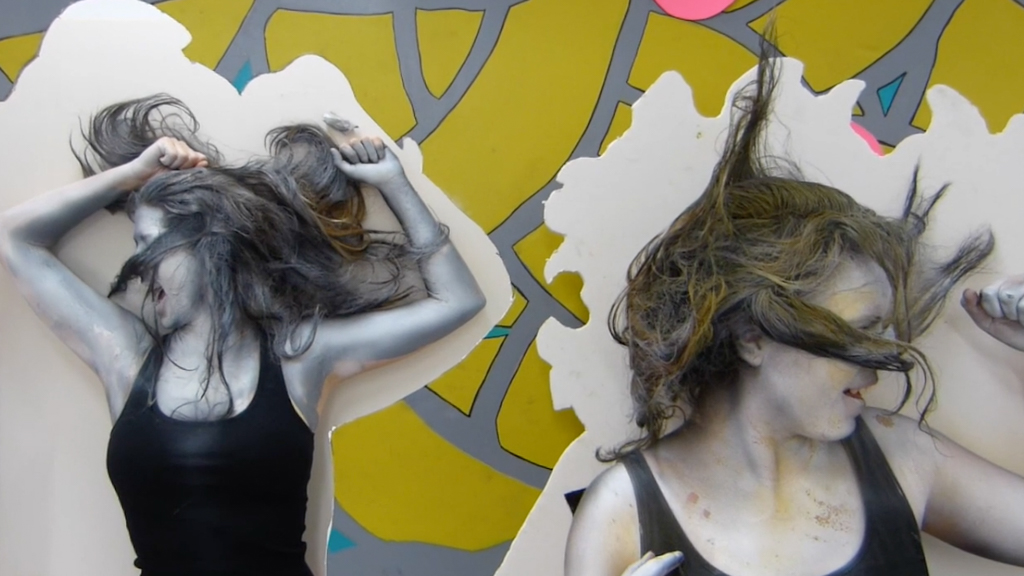 Grey Area, 2015, Acrylic and Airbrush Paint, foamcore, a ton of hairspray, and humans on video (still)