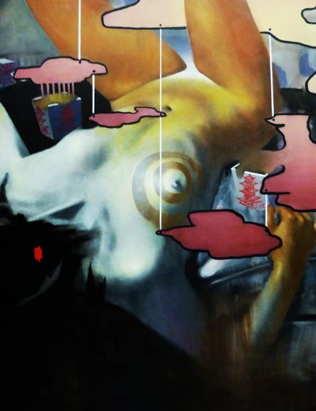 My Boyfriend has Yellow Fever (detail), 2014, Oil paint, 6'x4'