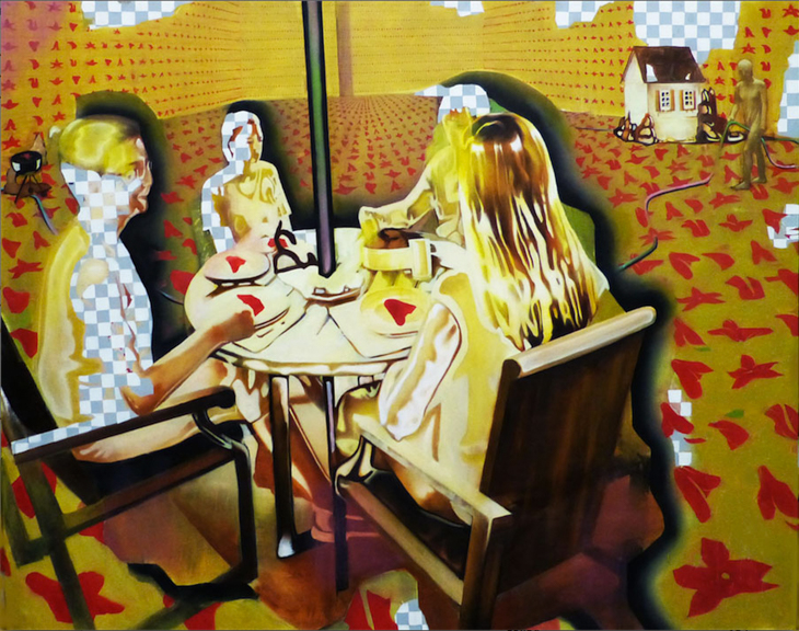 Plastic Wrapped Luncheon on a Sepia Effected Afternoon 2014,Oil Paint. 5'x4'