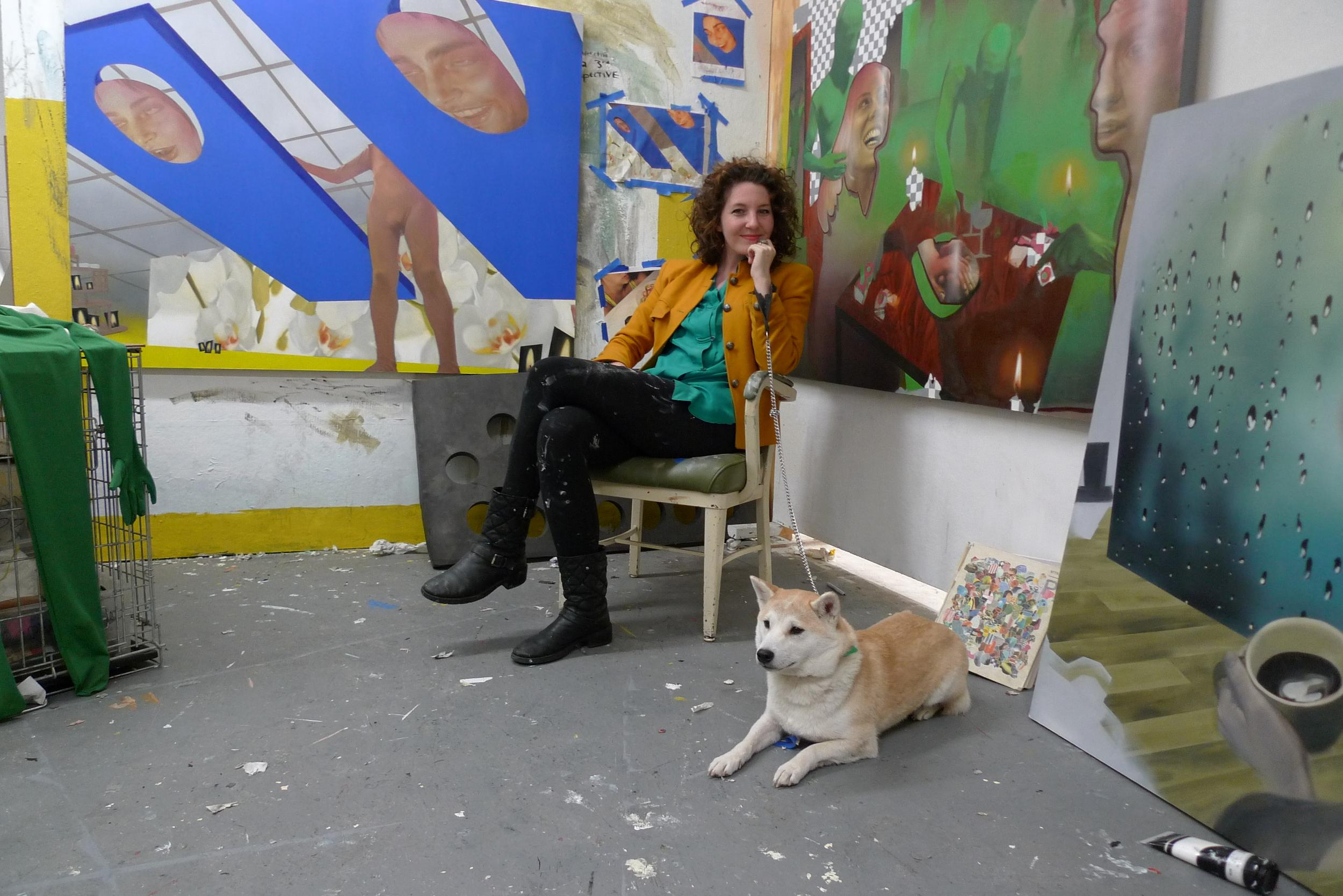 Rives in her studio