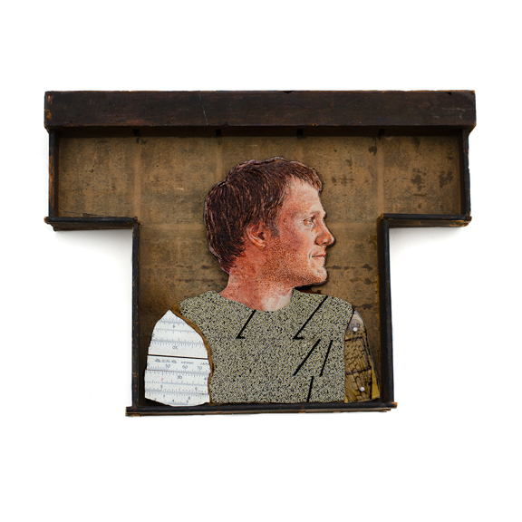 Ian, 2015, Oil on panel, found wood, slide rule, cardboard, other mixed media, 7 x 10 x 1.5 inches