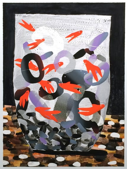 Fish Cup, 2015, oil and watercolor monoprint on paper, 38.5 x 28.5 inches