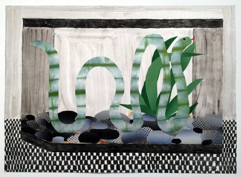 Snake Tank, 2015, oil and watercolor monoprint with chine-colle on paper, 29 x 21 inches