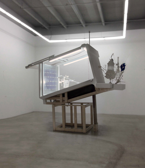 SUBMATUREBOYBUOYANT  , 2013   10 x 4 x 11 ft, Aluminum bathtub, perspex, epoxy, castors, INSTAR.01, INSTAR.02, wood, pvc tubing, fluorescent fixtures, marine navigational lighting, joint compound, silicone, chlorinated water, production still transparencies