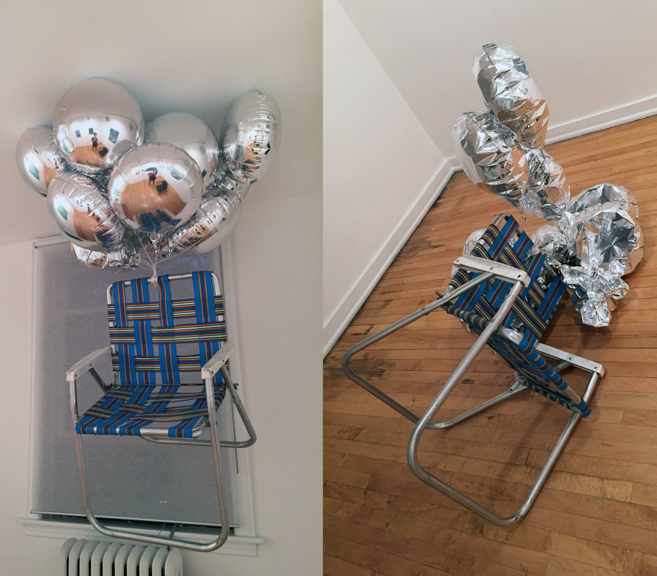 CAN'T SIT: A [person] can't just sit around, 2014, Artist's studio chair and helium balloons, Dimensions variable
