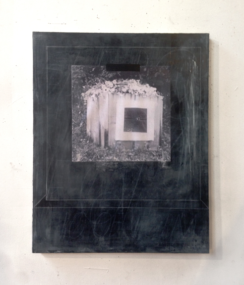 "Zeroofform: zero of form (a grave for Malevich), 2014, Acrylic, chalk, and collage on pane,l 20"" x 16"""