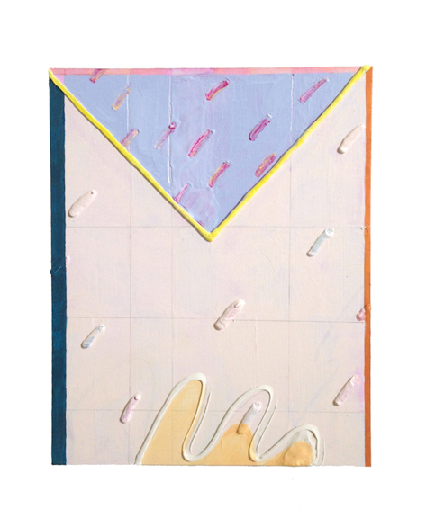 Untitled (Bottom Spackle Reach), 2015, Acrylic, spackle and graphite on panel, 10 x 8 in.