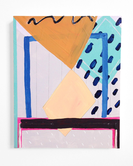 Untitled (Crimson Front), 2015, Acrylic, graphite and spackle on panel, 10 x 8 in.