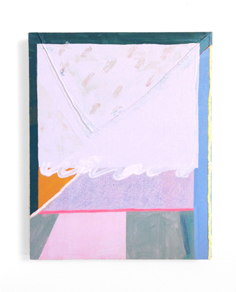Untitled (Lavender Almond Milk), 2015, Acrylic, colored pencil and spackle on panel, 10 x 8 in.