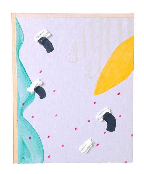 Untitled (Left Green Form), 2014, Acrylic, graphite and spackle on panel, 10 x 8 in.