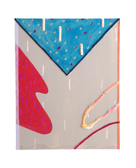 Untitled (Red Left Wave), 2015, Acrylic and spackle on panel, 10 x 8 in.
