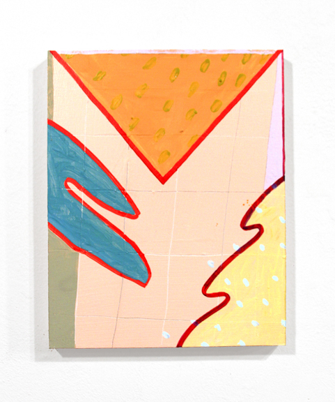 Untitled (Trop Red), 2015,  Acrylic and graphite on panel, 10 x 8 in.