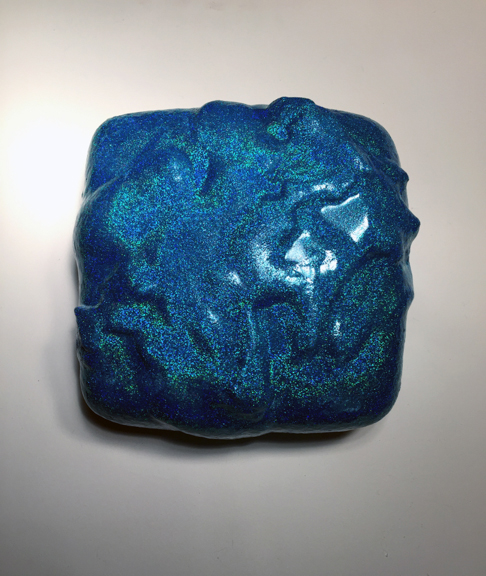 Bluest  2015  10 x 10 x 6 (in)  Polyurethane foam, epoxy resin, acrylic, glitter on wood panel