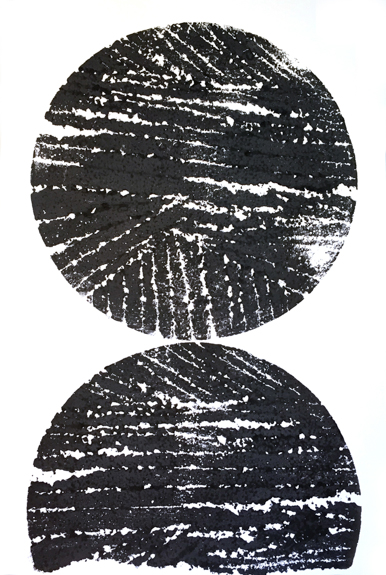"Remnant Print (circles), 2015, relief print from altered architectural model­making scraps, 19"" x 12.5"""