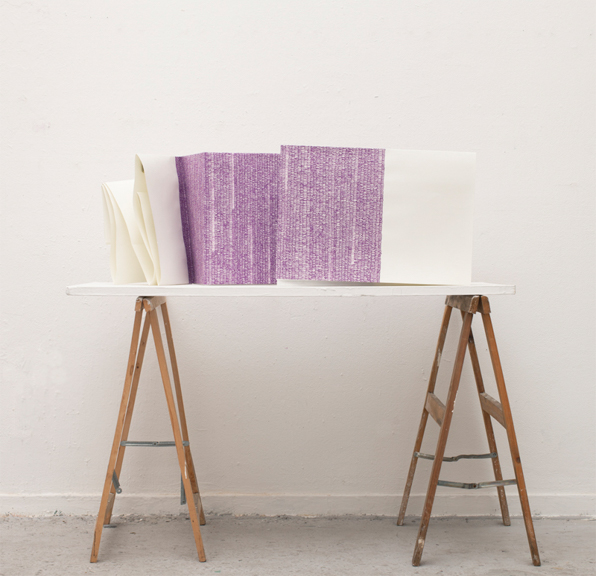 Small Columns and Large Margins, 2012, acrylic paint on folded paper, 95 x 107 inches (folded display shown)