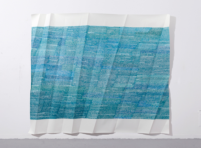 Memory is a Palimpsest, 2012, acrylic paint on folded paper, 118 x 138 inches