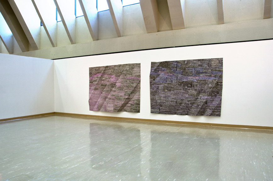 Tyrian and Non-Spectral Color, 2013, acrylic paint on folded paper, 72 x 200 inches