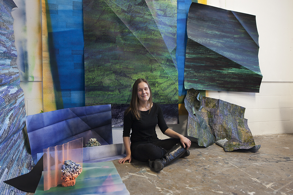 Lindsey in her studio in State College. Photo by Emily Burns.