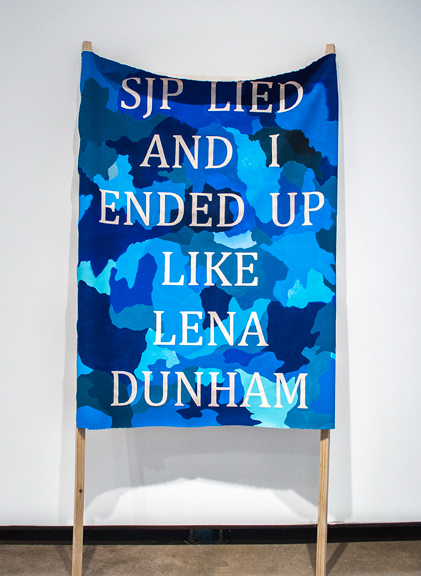 Sarah Jessica Parker Lied , 2014, acrylic on canvas, wood, 88x48x10 inches