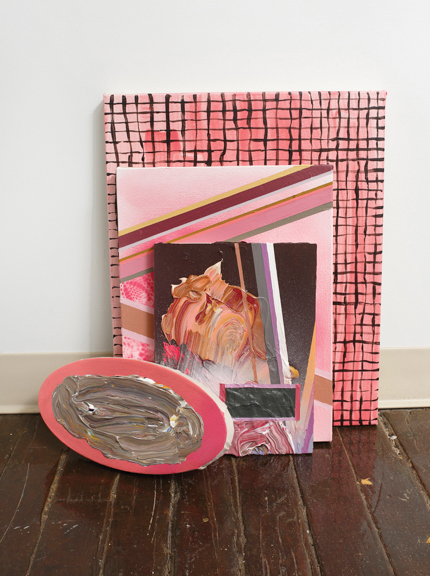 Girly Show / Pink Props,  2014, Acrylic on Panel and Canvas, Dimensions Variable