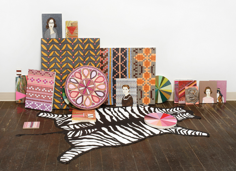Zebra Rug,  Hex and Other Props, 2014, Acrylic and Gouache on Panel and Canvas, Dimensions Variable
