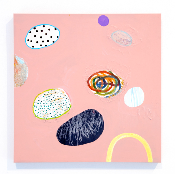 lollipop beach,  2015, mixed media on panel, 18 x 18 inches