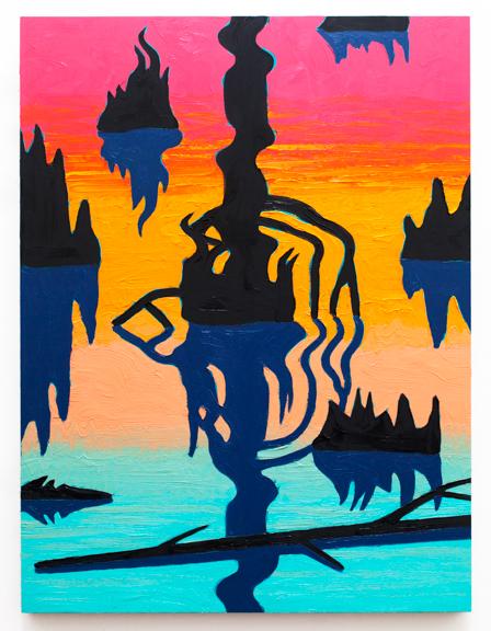 """Swamp Shimmer V,  2016  Oil on panel  24"""" x 18"""""""