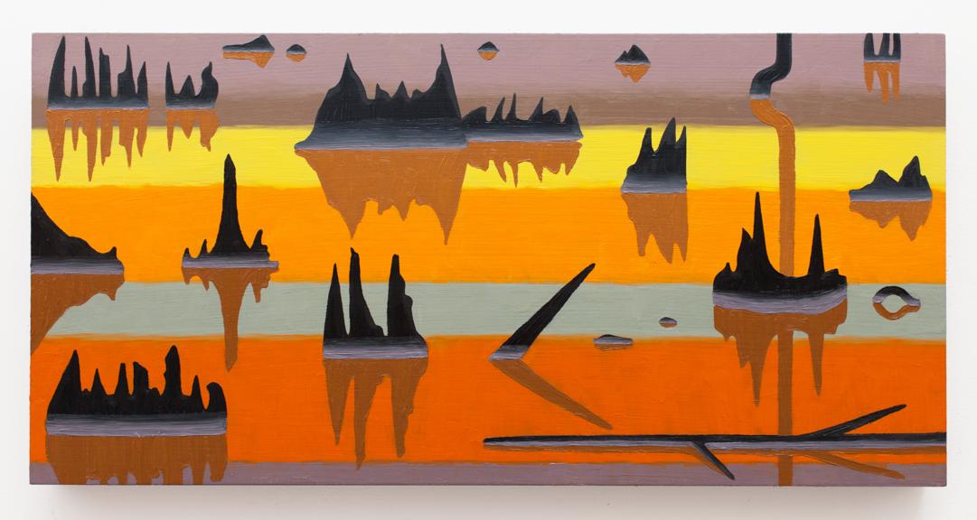 "Swamp Reflections II,  2015  Oil on panel  12"" x 24"""