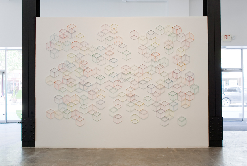 Modular Wall Installation: Hexagon (Cube)   Dimensions variable  Gouache, colored pencil, paper, nails 2015  Installed at Space Pittsburgh, 2015 (approx. 8.25 x 12 feet)