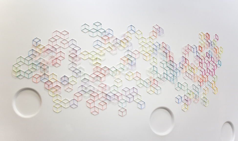 Modular Wall Installation: Hexagon (Cube)   Gouache, colored pencil, paper  Dimensions variable  2015  Installed at Art on Paper, 2016 (approx. 7.5 x 19.5 feet)