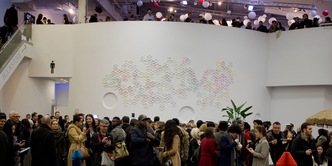 Modular Wall Installation: Hexagon (Cube) , gouache, colored pencil, paper, dimensions variable, 2015, installed at Art on Paper, 2016 (approx. 7.5 x 19.5 feet)