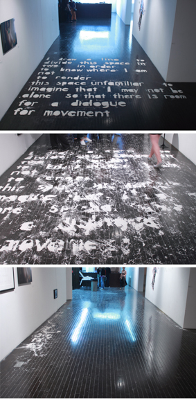I Draw a Line , 2010, installation at Arario Gallery, New York, white powder, Dimensions variable