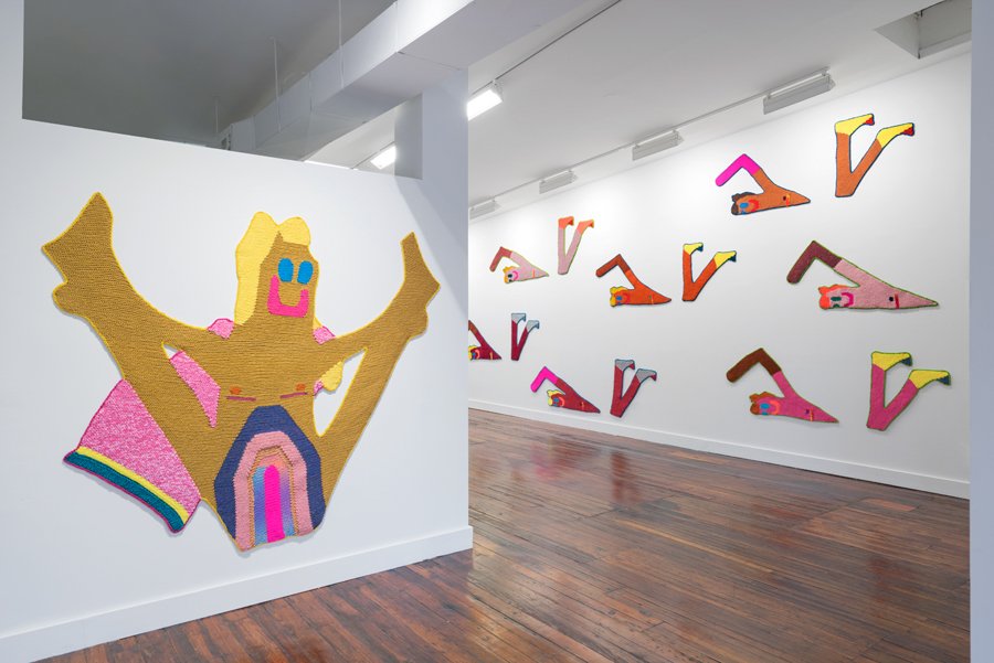 """Install shot from 'Beach Bois' at Lord Ludd in Philadelphia, PA   Frostina  and the  Freestylers   Hand crocheted assorted fibers  74"""" x 92"""", 37"""" x 7' (each)  2016"""