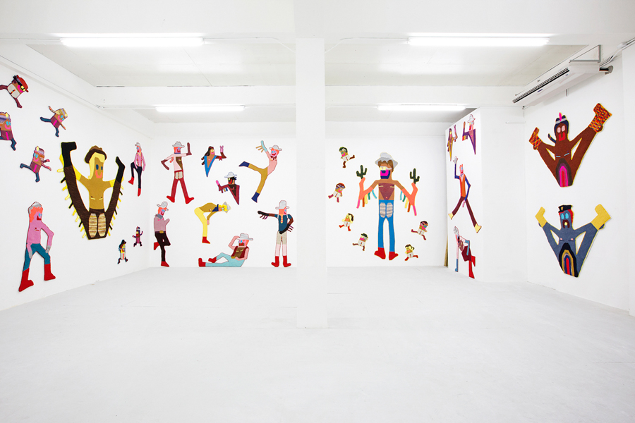 Install shot from 'The Best Little Whore House in Texas' at Roberto Paradise in San Juan, PR   Hand crocheted assorted fibers  20' x 17' x 40' x 17' x 20' x 17'  2015-6