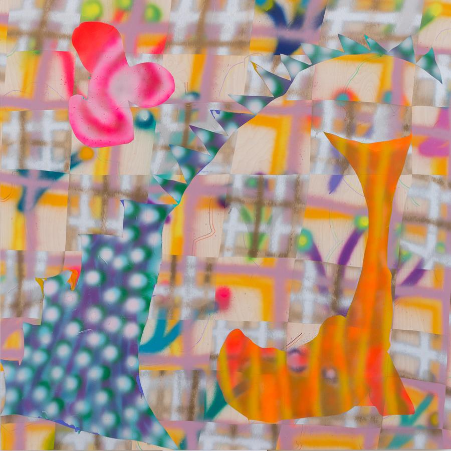 "New Buff ,Acrylic & Colored Pencil on Panel 52""x52"" 2015"