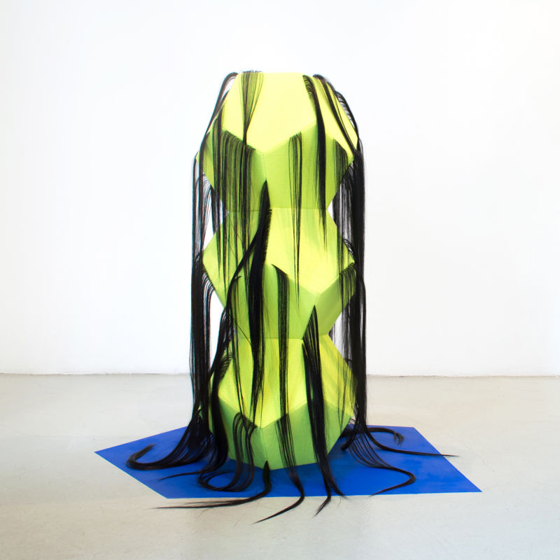 I'm Only Visiting , 2014, Acrylic Yarn, Human Hair, Thread, Chipboard, Acrylic Paint, 3.5'X2'X2' (appx.)