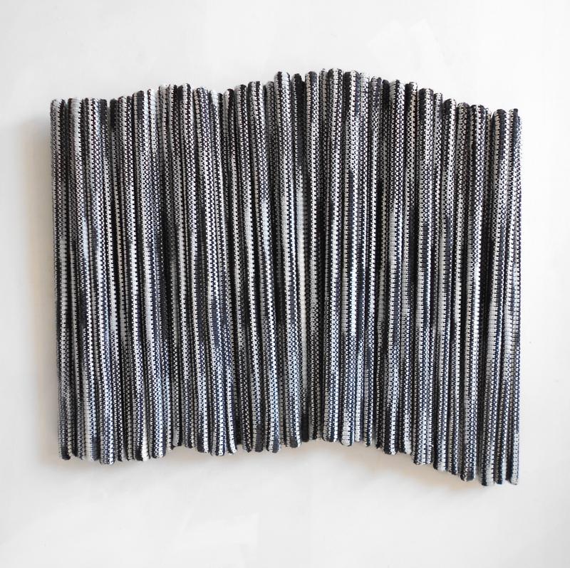 "White Noise , 2014, Acrylic Yarn and Wood, 24""X70"""