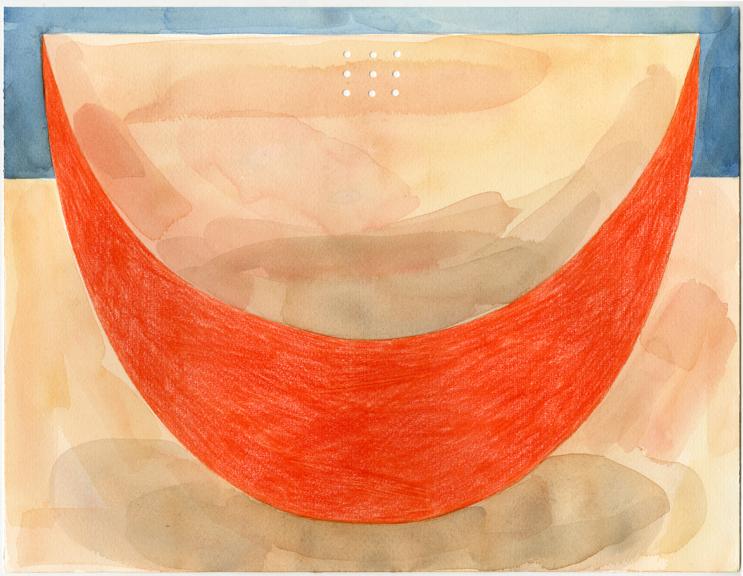 "Slice  2015 watercolor, colored pencil on paper 11"" x 14"""