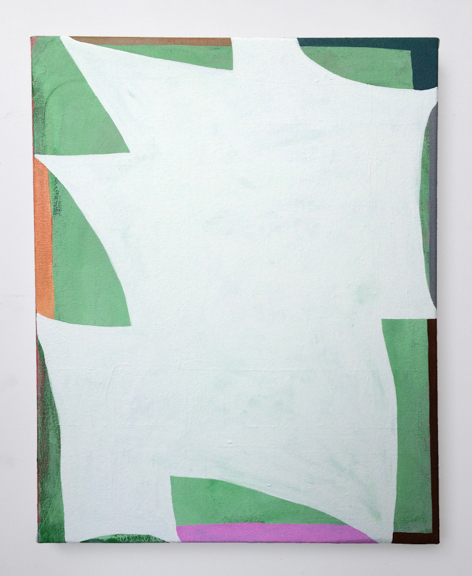 Untitled (White Shape),  2015. Acrylic on Canvas over Panel 10 x 8 inches